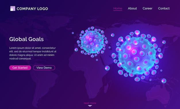 Coronavirus-pandemie covometr 19 isometrisches webdesign