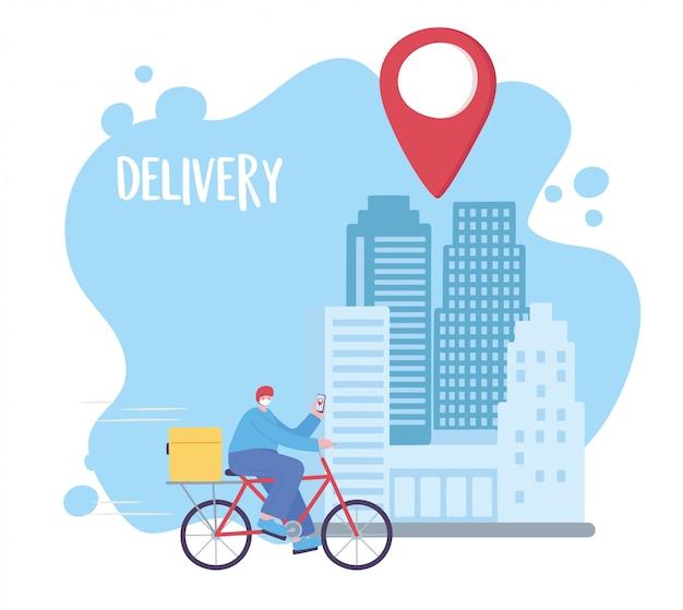 Coronavirus-pandemie, lieferservice, lieferfahrer fahrrad fahren mit handy in der stadt, medizinische schutzmaske tragen