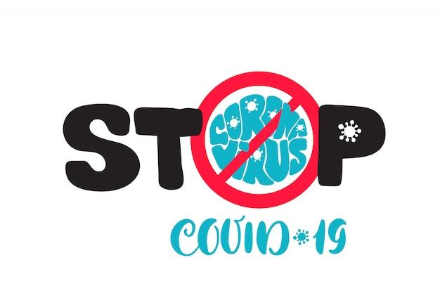 Coronavirus-pandemie. stoppen sie das covid-19-ausbruchslogo. covid-19-symbol. globale epidemiewarnung