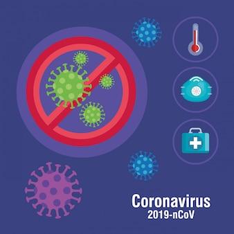 Coronavirus-partikel und medizinische elemente