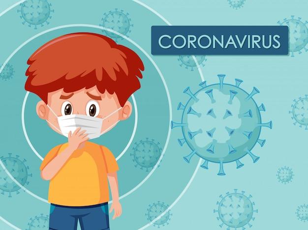 Coronavirus-plakatdesign mit tragender maske des jungen