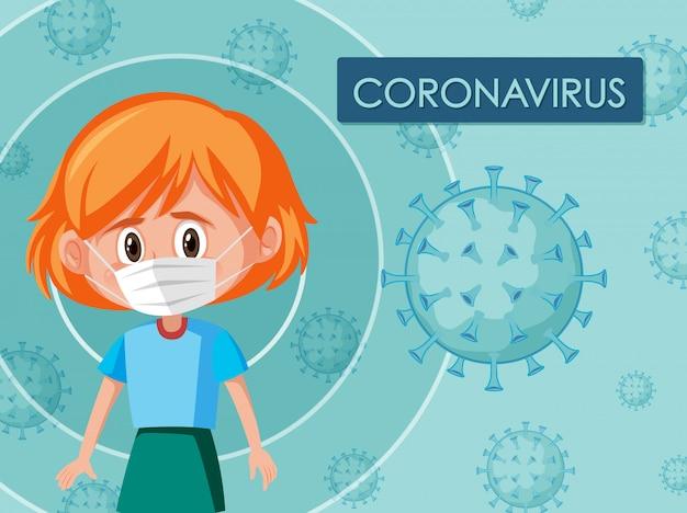 Coronavirus-plakatdesign mit tragender maske des mädchens