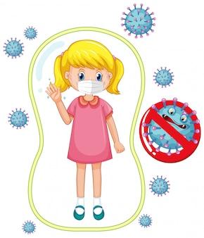 Coronavirus-plakatentwurf mit dem tragen der maske des mädchens