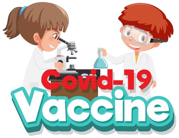 Coronavirus-plakatentwurf mit kindern, die im wissenschaftslabor arbeiten