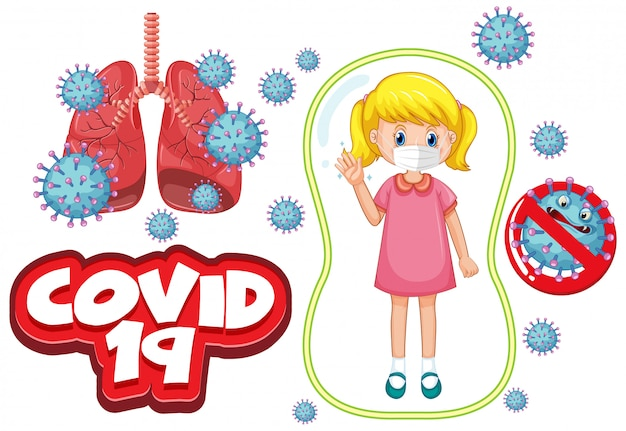 Coronavirus-plakatentwurf mit krankem mädchen, das maske trägt