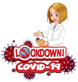 Coronavirus-plakatentwurf mit wortsperre auf weißem hintergrund