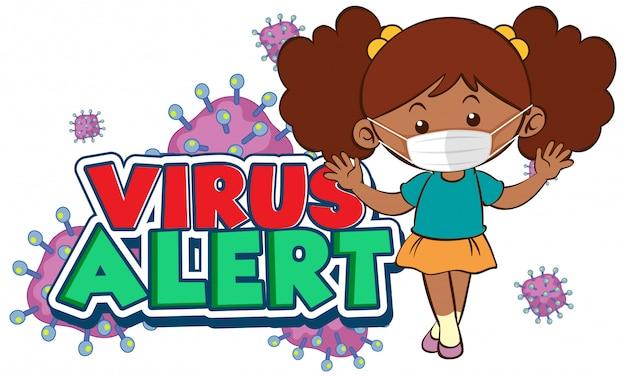 Coronavirus-plakatentwurf mit wortvirusalarm und mädchen, die maske tragen