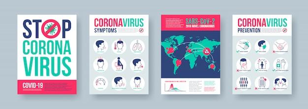 Coronavirus-posterset mit infografiken. neuartige coronavirus 2019-ncov-banner. konzept der gefährlichen covid-19-pandemie.