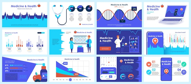 Coronavirus-präsentationsfolienvorlagen aus infografik-elementen