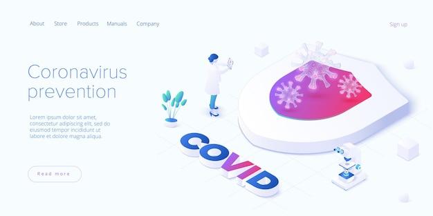 Coronavirus-prävention oder virusimpfung im isometrischen design. schild als schutzmetapher für einen koviden antidot- oder antivirus-impfstoff.