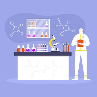 Coronavirus-präventionskonzept, mann in schutzanzug und maske, wissenschaftler arbeiten im labor. globale epidemie oder pandemie. covid-19, coronavirus-krankheit. arbeiter macht virentest. vektor