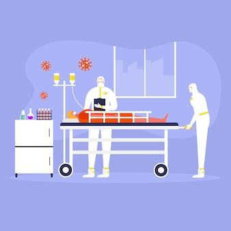 Coronavirus-präventionskonzept, menschen in schutzanzug und maske, arzt. globale epidemie oder pandemie. covid-19, coronavirus-krankheit. arbeiter in der chemie macht virustest. vektor