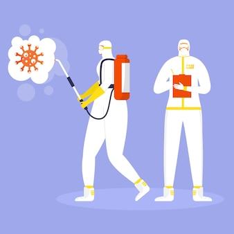 Coronavirus-präventionskonzept, menschen in schutzanzug und maske sprühen und desinfizieren viren. globale epidemie oder pandemie. covid-19, coronavirus-krankheit. vektor