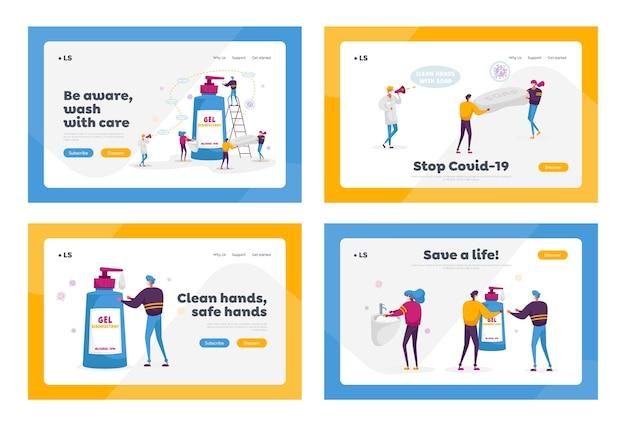 Coronavirus-präventionsmaßnahmen landing page template set.