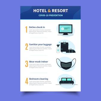 Coronavirus-präventionsplakat für hotelvorlage