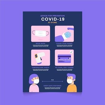Coronavirus-präventionsschritte für shop-poster