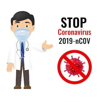 Coronavirus professional doctor isolierter weißer hintergrund