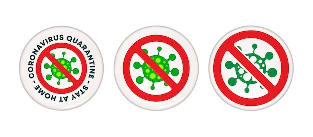 Coronavirus-quarantäne - bleiben sie zu hause warnschild - pin-button-design. vektorillustration