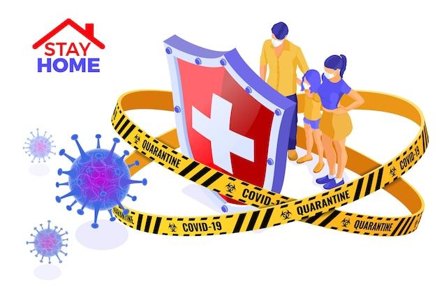 Coronavirus-quarantäne bleibt zu hause mit schildschutzfamilie in masken im warnschutzband. ausbruch des pandemischen coronavirus. isometrische darstellung
