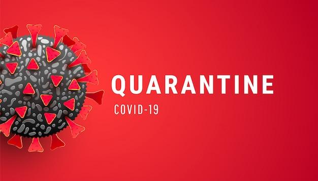Coronavirus-quarantäne mit virusinfizierter zelle auf rotem hintergrund.