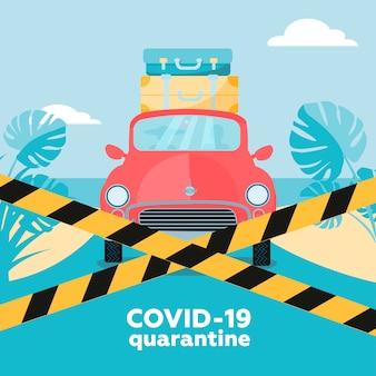 Coronavirus-quarantäne - reiserücktritte. neuartige koronavirus-krankheit covid-19, 2019-ncov, mers-cov-konzept. blockierte straße mit fahrendem auto im urlaub fahren.