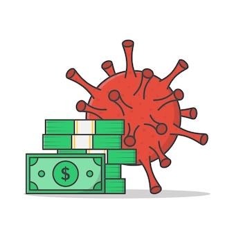Coronavirus quarantäne wirtschaft vektor icon illustration. geld mit flachem virussymbol