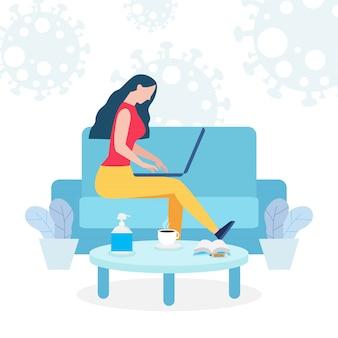 Coronavirus-quarantänekonzept. frau arbeitet zu hause. frau sitzt und arbeitet am laptop. menschen mit computer, verhindern die ausbreitung der infektion isoliert auf hintergrundillustration