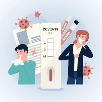 Coronavirus-schnelltest an menschlichen charakteren