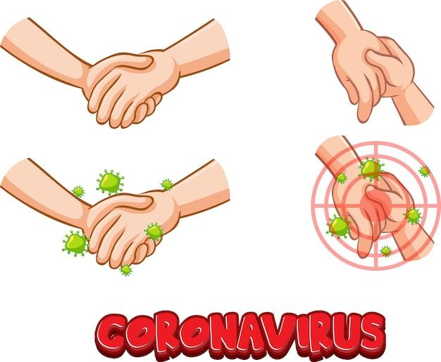 Coronavirus-schriftart mit virus verbreitet sich durch händeschütteln auf weiß