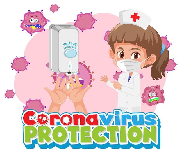 Coronavirus-schutz mit arztzeichentrickfigur