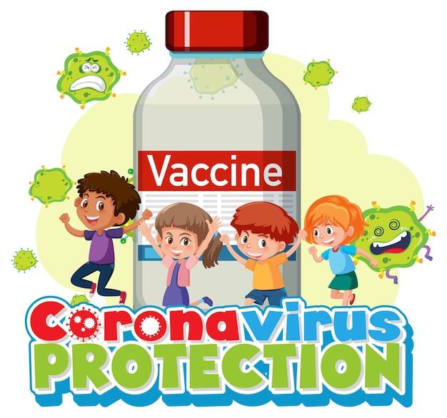 Coronavirus-schutz mit kinderzeichentrickfigur und impfstoffflasche