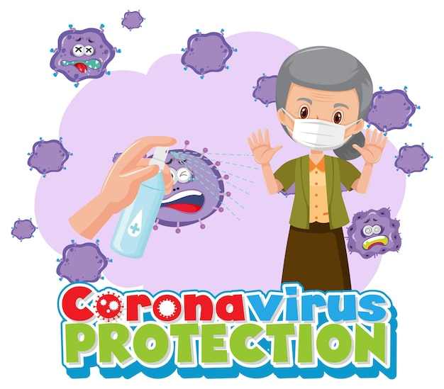 Coronavirus-schutzbanner mit alter frau-cartoon-figur mit medizinischer maske