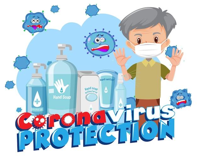 Coronavirus-schutzbanner mit zeichentrickfigur des alten mannes und desinfektionsmittel