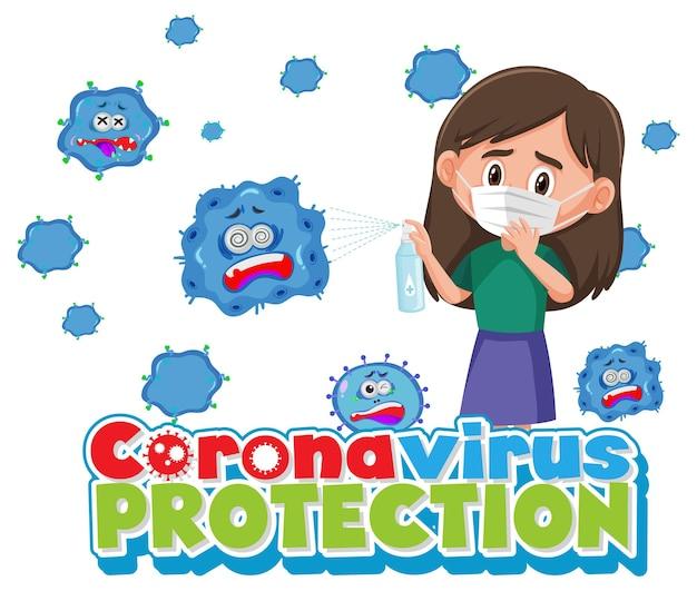 Coronavirus-schutzbanner mit zeichentrickfigur mit medizinischer maske