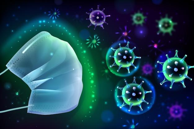 Coronavirus-schutzhintergrund mit gesichtsmaske