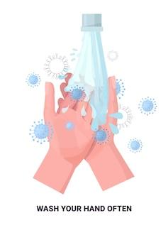 Coronavirus-schutzkonzept waschen sie ihre hände oft schützen sie sich verhindern covid 19 vertikal isoliert