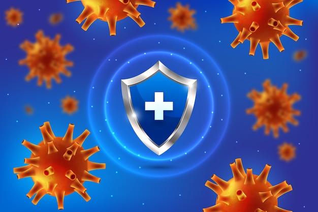 Coronavirus-schutzschild mit viren in der nähe