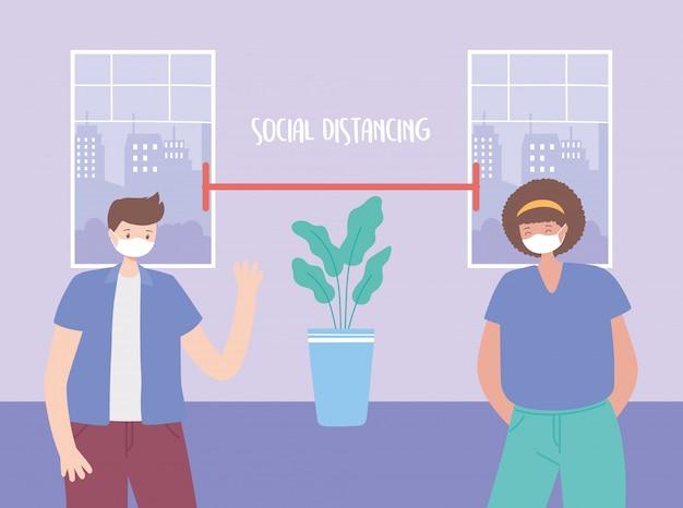 Coronavirus soziale distanzierung, vorbeugende maßnahmen von mann und frau maßnahmen zum schutz ihrer selbst, menschen mit medizinischer gesichtsmaske
