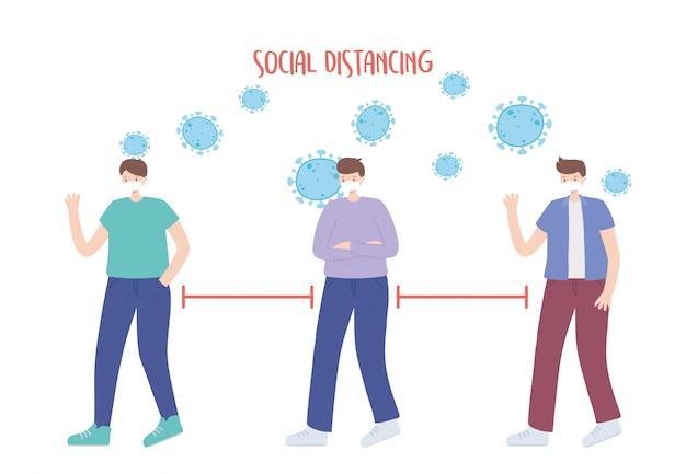 Coronavirus soziale distanzprävention, junge männer halten abstand, ausbruch breitet sich aus, menschen mit medizinischer gesichtsmaske