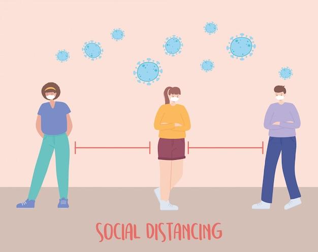 Coronavirus soziale distanzprävention, menschen mit gesichtsmaske halten abstand