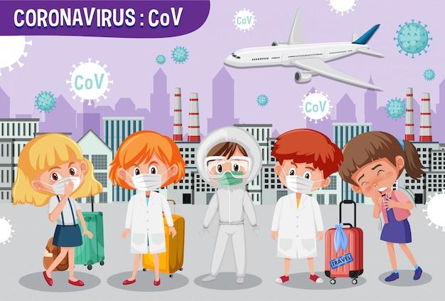 Coronavirus spritzt in der großstadt mit vielen menschen, die krank werden