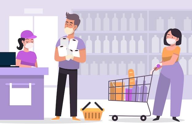 Coronavirus supermarktkonzept