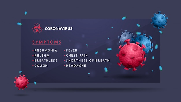 Coronavirus-symptome mit rosa und blauen coronavirus-molekülen