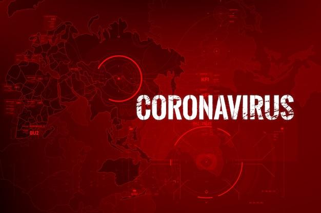 Coronavirus-textausbruch mit weltkarte und hud