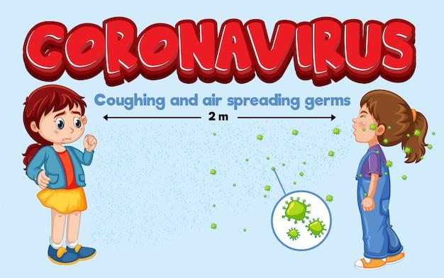 Coronavirus-thema mit husten und luftverbreitenden keimen