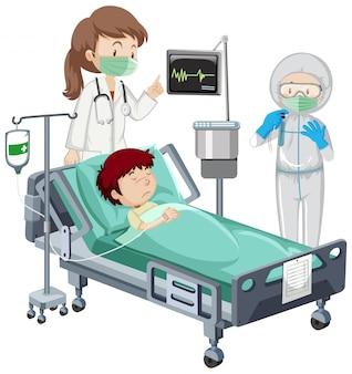Coronavirus-thema mit krankem jungen auf krankenhausbett