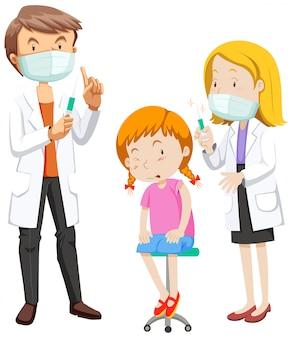 Coronavirus-thema mit krankem mädchen, das impfstoff erhält