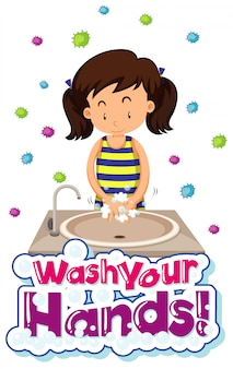 Coronavirus-themenplakatdesign mit wort waschen sie ihre hände