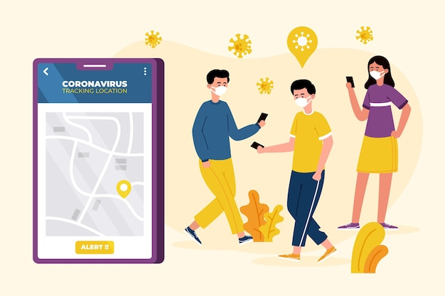 Coronavirus tracking location app-konzept