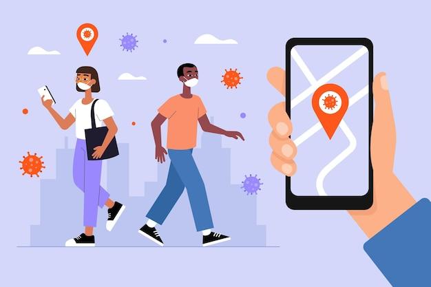 Coronavirus tracking location app - konzept